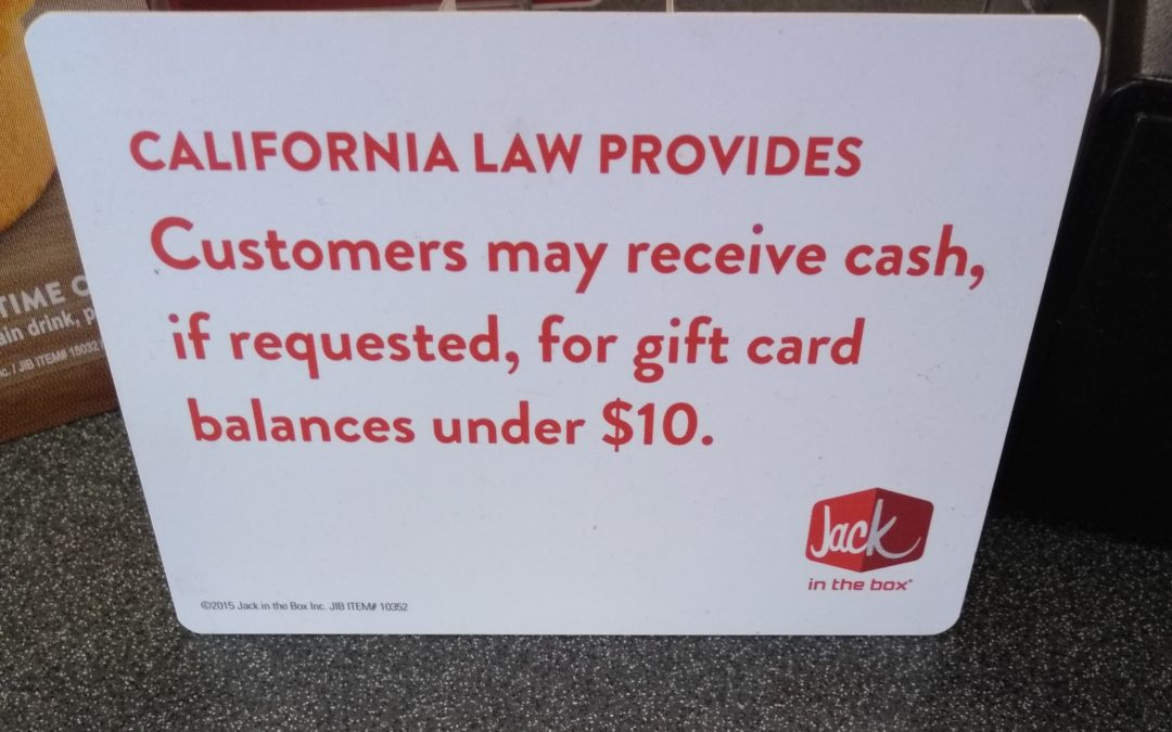 Cashing Out Gift Cards in California